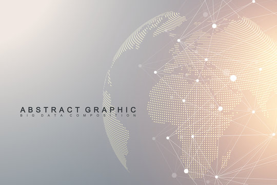 Virtual Graphic Background Communication with World Globe. A sense of science and technology. Digital data visualization. Vector illustration