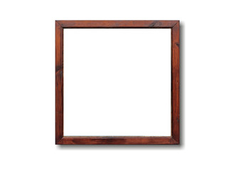Empty wooden frame on the wall. White background, space for text.