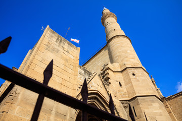 Minaret of Selimiye Mosque (Cathedral of Saint Sophia) in North Nicosia, Cyprus.