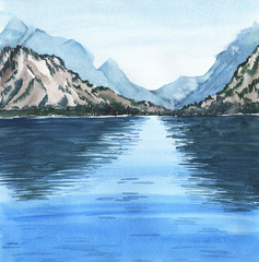 Watercolor landscape with mountains and lake or sea