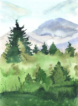 Landscape with pine trees, mountains and field painted by watercolor. Hand drawn illustration.
