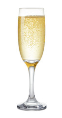 Champagne glass on white background