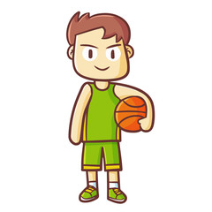 Funny and cute male basketball player standing with ball - vector.