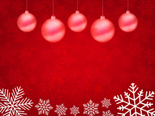 Christmas background, Bokeh snowflakes , red background, red ball, Christmas tree background