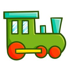 Funny and cute green locomotive toy - vector.