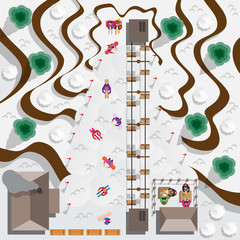 Ski resort. People skiing and snowboarding. View from above. Vector illustration.