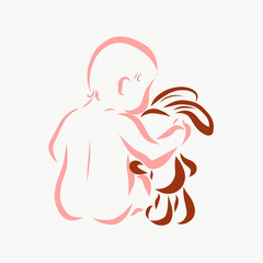 The baby gently hugs the hare