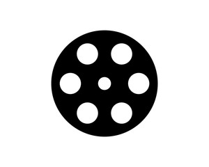 Simple Black Cassette Roll Film Illustration Symbol Vector