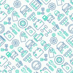 Car service seamless pattern with thin line icons of mechanic, computer diagnostics, tools, wheel, battery, transmission, jack. Modern vector illustration.