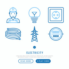 Electricity thin line icons set: electrician, bulb, pylon, power socket, cable, meter. Vector illustration.