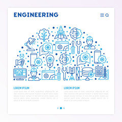 Engineering concept in half circle with thin line icons: engineer, electronics, calculations, tools, repair, idea, it server. Modern vector illustration for web page, banner, print media.