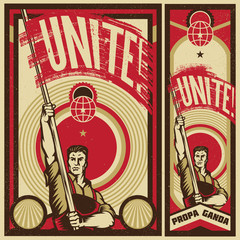 Poster Revolution. Propaganda Background Style. Revolution raising The Flag.