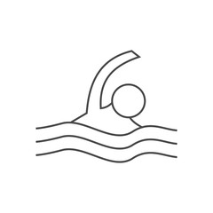 Line Icon Of Swimmer.