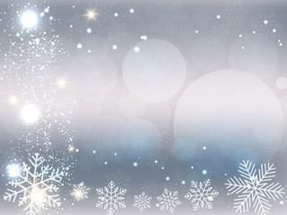 Illustration of Christmas background with gray and white snowflakes and bokeh