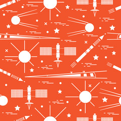 Seamless pattern with variety space exploration elements.