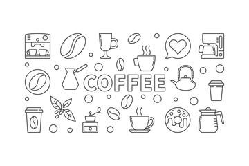 Coffee vector horizontal illustration. Vector concept banner