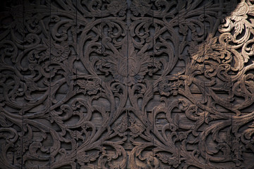 Traditional wooden carving details / old Asian carving Wall mural