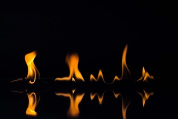 Flames isolated on black