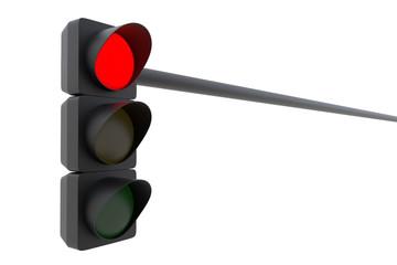 Red traffic light isolated on white background. 3D illustration Fotomurales