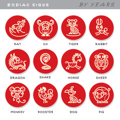 Zodiac signs - vector icons of astrological animals by years, symbols of Chinese astrological calendar.