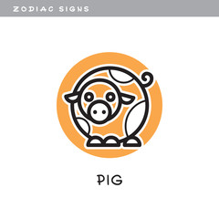 Pig - vector icon. Logo, zodiac sign, symbol of Chinese astrological calendar.