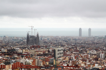 A panoramic view of Barcelona from Guell Park