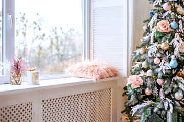 Light room with a window and a tree. Concept interior, Happy New Year, Winter, Home.