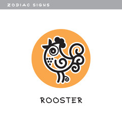Rooster - vector icon. Logo, zodiac sign, symbol of Chinese astrological calendar.