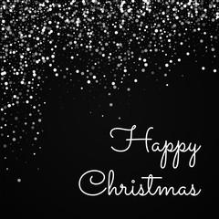 Happy Christmas greeting card. Random falling white dots background. Random falling white dots on black background. Gorgeous vector illustration.