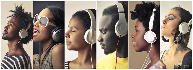 People using headphones