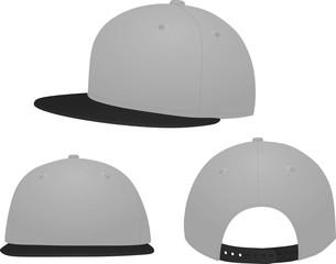 Grey baseball cap. black visor. vector illustration