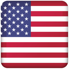 Icon representing square button of the USA flag. Ideal for catalogs of institutional materials and geography