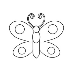 Butterfly drawing. Coloring pages for kids. Vector stock.