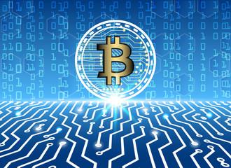 bitcoin and blockchain digital technology, virtual currency blockchain technology concept