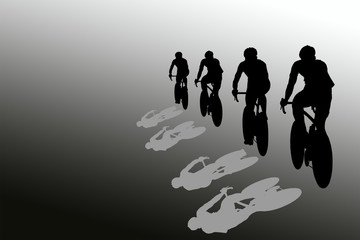Isolated black silhouettes of cyclists during a race on a gray background
