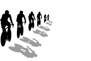 Isolated black silhouettes of cyclists during a race on a white background