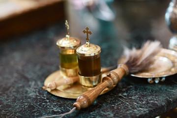Chrismatory, chrismarium, jar for containing chrism oil. Sacrament. Baptism. Confirmation in Holy Spirit. Consecration. Ordination. Anointing. Chrism. Myrrh. Myron. Holy anointing oil. Consecrated oil Wall mural