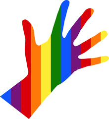 silhouette of left female hand in colors of flag LGBT