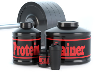 Sports nutrition, supplements, barbells, whey protein, gainer bars 3d illustration