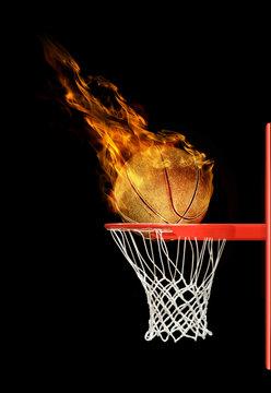basketball ball flying to hoop