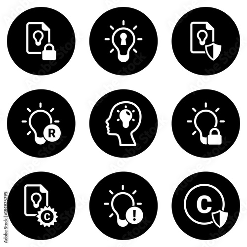 """Intellectual Property Icon: """"Set Of Simple Icons On A Theme Intellectual Property"""