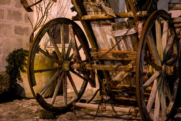 Old Abandoned Wooden Wagon At Night