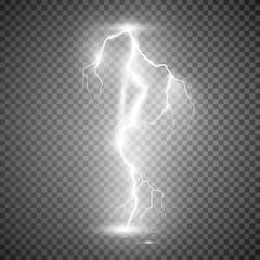 Storm lightning bolt. Vector illustration isolated on transparent background