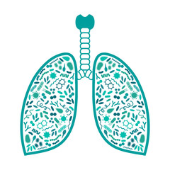 vector illustration of a bacteria and virus in respiratory system, lung infection
