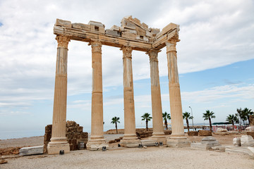 Columns of an ancient Greek temple, ruins