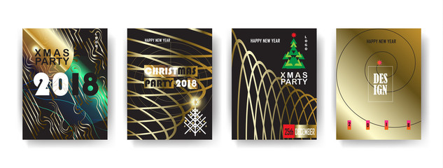 2018 vector, Happy new year, christmas winter holiday party invitation, brochure, poster flyer, greeting card, sale banner, template, set. Abstract Modern gold geometric motion design lights effect.