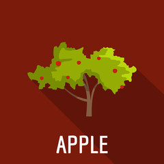 Apple tree icon. Flat illustration of apple tree vector icon for web