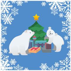 polar bears are dressed rojestvensky tree. the square background. vector
