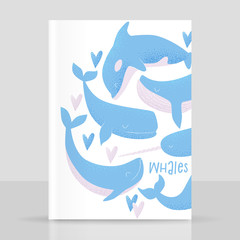 Vector card with blue whale