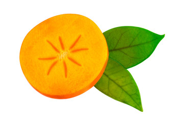 Half of persimmon fruit on white. Image included clipping path